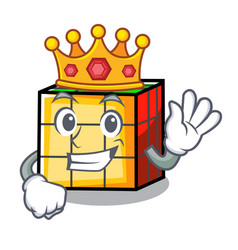 King rubik cube mascot cartoon vector