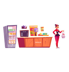 konbini japanese convenience store and seller vector image