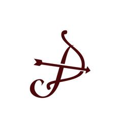 Letter p bow arrow vector