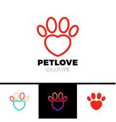 Love pet or heart paw logo template vector