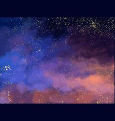 magic night dark blue sky with sparkling stars vector image