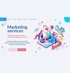 marketing online service isometric webpage vector image
