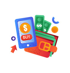 modern smartphone and wallet with money mobile vector image