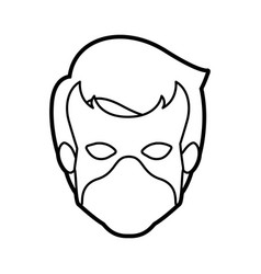 Monochrome thick contour head of faceless guy vector