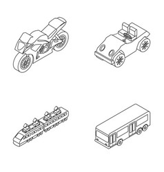 motorcycle golf cart train bus transport set vector image