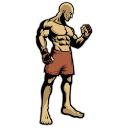Muscle fighter standing vector