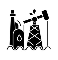 Oil industry black glyph icon vector