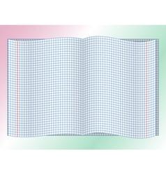 Open chequered school notebook vector