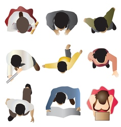 People standing top view set 8 vector