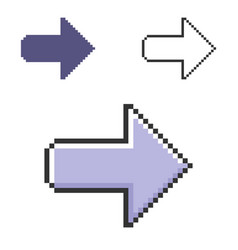 Pixel icon right direction arrow in three vector