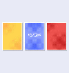 pop art style posters set halftone circle vector image