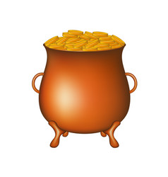 pot with golden money coins vector image