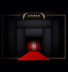 red carpet concept background golden frame vector image