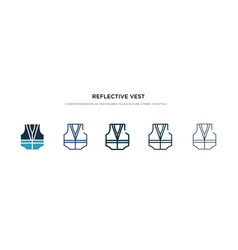 Reflective vest icon in different style two vector