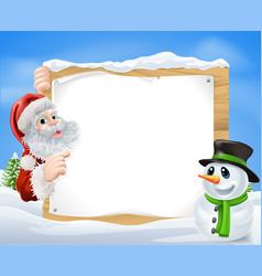 Santa snowman snow scene vector