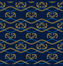 Seamless pattern with anchors chains and waves vector