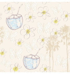 Seamless pattern with coconut nut palm trees and vector image