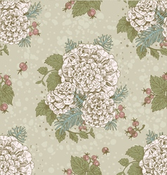 Seamless vintage pattern of flowers and berries vector image
