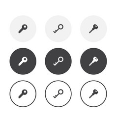 set 3 simple design key icons rounded vector image