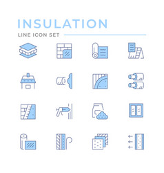 Set color line icons insulation vector