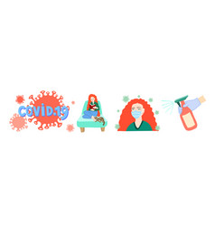 set covid 19 hand drawing symbols coronavirus vector image