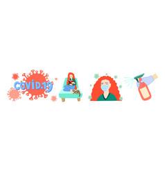set covid19 19 hand drawing symbols coronavirus vector image