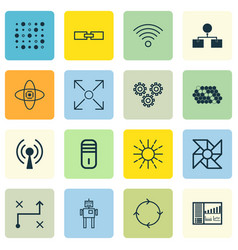 Set of 16 machine learning icons includes laptop vector