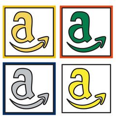 Set of amazon online shop smile store icon vector