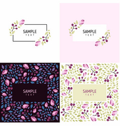 set of cards with floral frames wedding ornament vector image