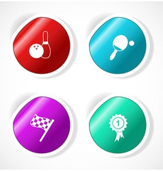 set stickers with icons vector image