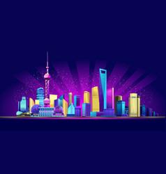 Shanghai neon city vector