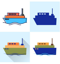 ship icon set in flat and line styles vector image
