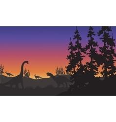 Silhouette of Brachiosaurus and Iguanodon vector