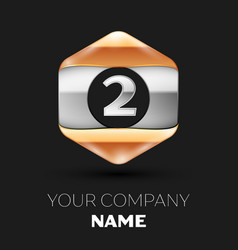 Silver number two logo in silver-golden hexagonal vector
