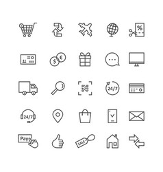 simple black thin line icons for ecommerce and vector image