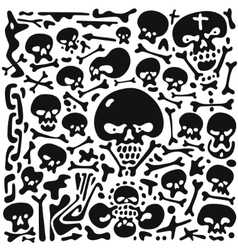 Skulls and bones doodles vector