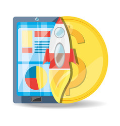 Smartphone rocket and coin digital marketing vector