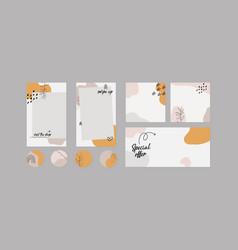 Social media mockup boho abstract shapes vector