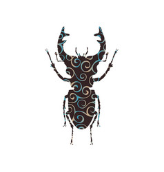 Stag beetle insect spiral pattern color silhouette vector