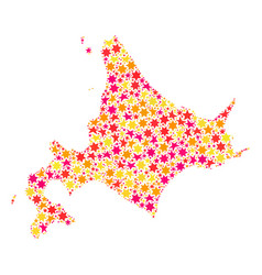Star collage map of japanese hokkaido vector