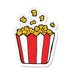 Sticker of a cartoon popcorn vector