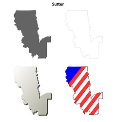 Sutter County California outline map set vector