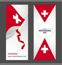 Switzerland happy independence day confetti vector