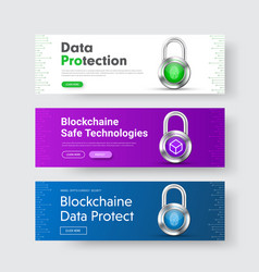 template of horizontal web banners with padlock vector image