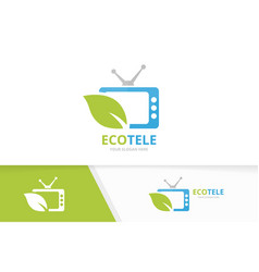 tv and leaf logo combination television vector image