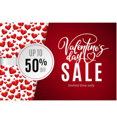 valentines day holiday sale 50 percent off vector image
