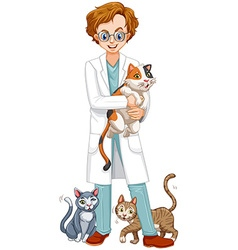 Vet with many cats vector