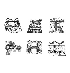 waterfall icon set flat line vector image