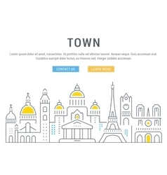 Website Banner and Landing Page Old City vector
