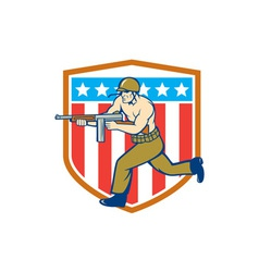 World War Two Soldier American Tommy Gun Shield vector image